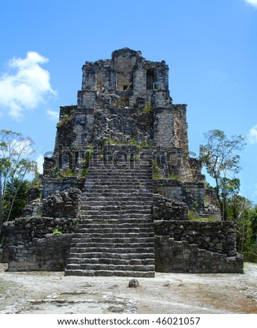 Mayan ruins in Muyil Mexico - stock photo