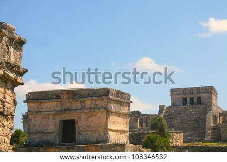 Mayan ruins in Tulum, Mexico - stock photo