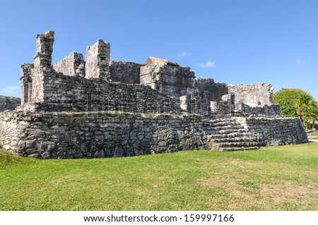 Mayan Ruins in Tulum Mexico - stock photo
