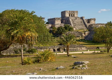 Mayan Ruins of Temple in Tulum Mexico. - stock photo