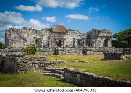 Mayan Ruins of Tulum. Old city. Tulum Archaeological Site. Riviera Maya. Mexico - stock photo