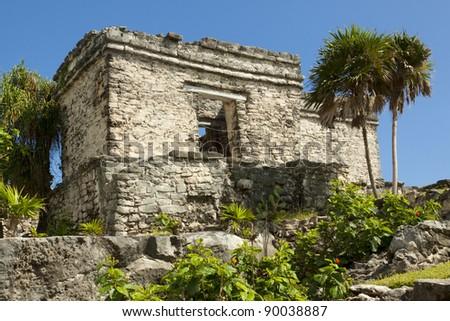 Mayan Ruins of Tulum, Yucatan Peninsula, Mexico. - stock photo