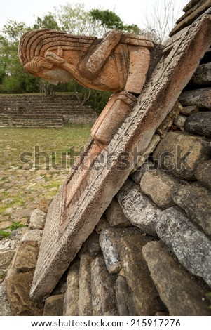 Mayan statue decorating the ball-court of Tonina archaeological site in Chiapas, Mexico - stock photo