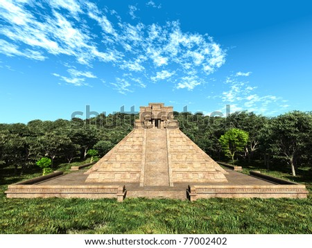 mayan temple in the woods - stock photo