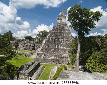 Mayan Temple in Tikal National Park Guatemala - stock photo