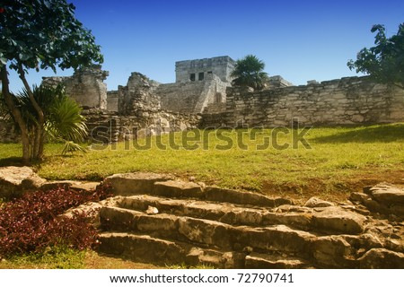 Mayan temple ruins located in Tulum Mexico - stock photo