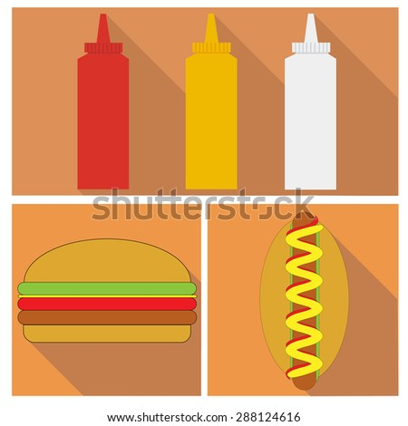 mayonnaise, ketchup, mustard, burger and hot dog. flat design - stock photo