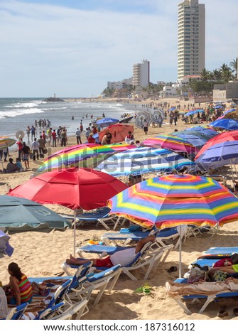 Mazatlan Mexico � April 14, 2014: Vacationers from all over the world flock to the beaches to celebrate Easter week in Mazatlan Mexico - stock photo