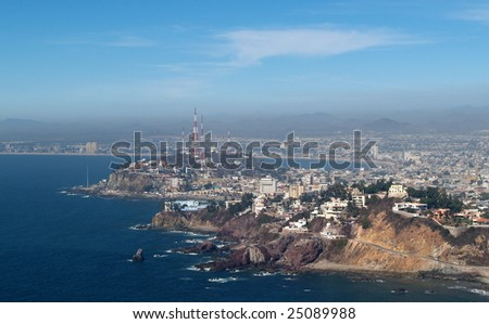 Mazatlan, Sonora, Mexico as viewed from the el Faro Lighthouse -  looking east Panorama pic 2 of 8 - stock photo