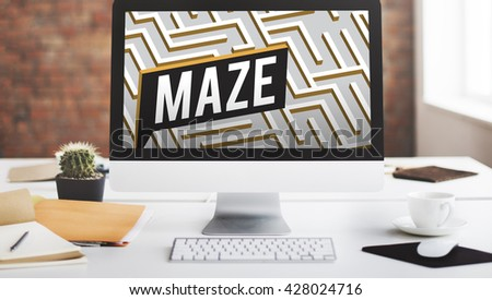 Maze Challenge Confusion Direction Exit Path Concept - stock photo