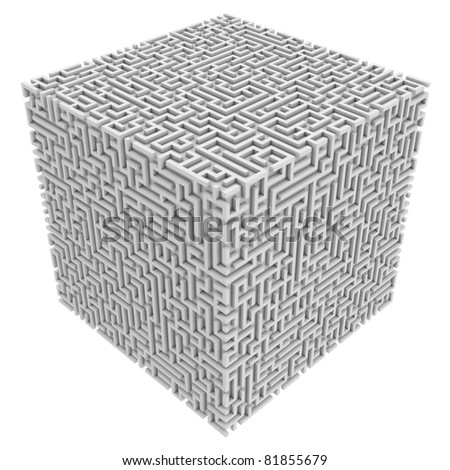 maze cube - stock photo