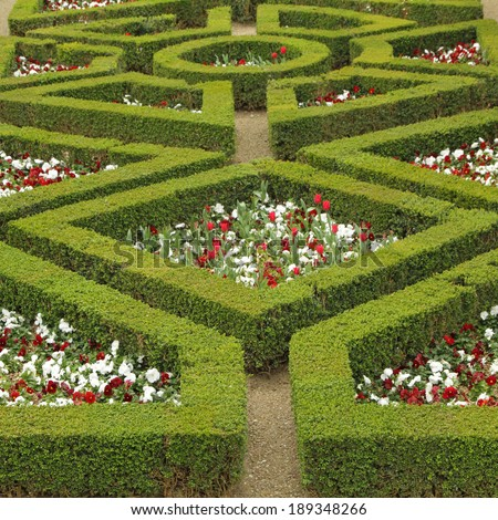 maze flowerbed  in Boboli Gardens in Florence,Unesco World Heritage site, Tuscany, Italy  - stock photo