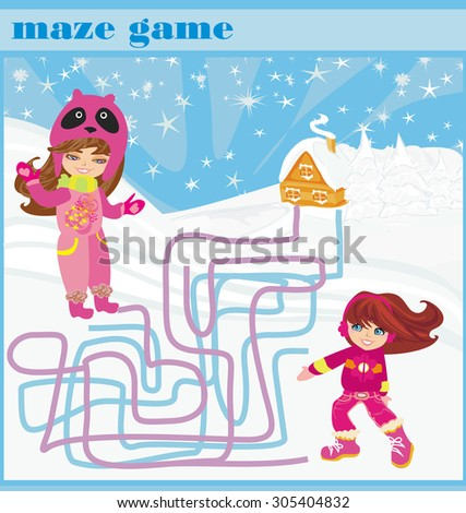maze game - fun in the winter day - stock photo