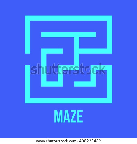 Maze Game Logo. Labyrinth Game with Entry and Exit. Find the Way Out Concept. Transportation. Logistics Abstract Background Concept. Business Path Concept. Illustration. - stock photo