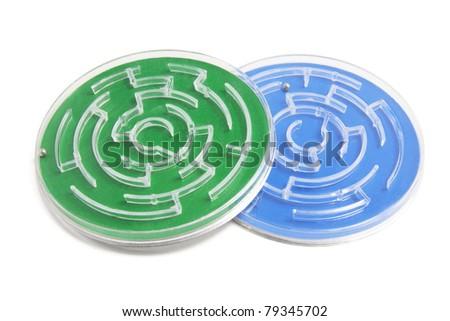 Maze Game on White Background - stock photo