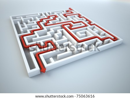 Maze illustration - finding the solution concept - stock photo