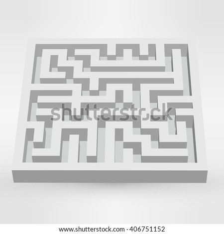Maze labyrinth puzzle white on grey background 3D illustration