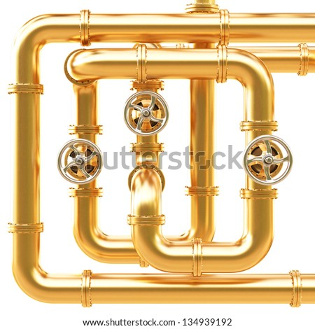maze of golden pipes. Isolated on white.