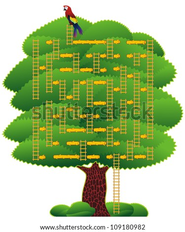 Maze or labyrinth of rope-ladders and logs on a green tree, children toy - stock photo
