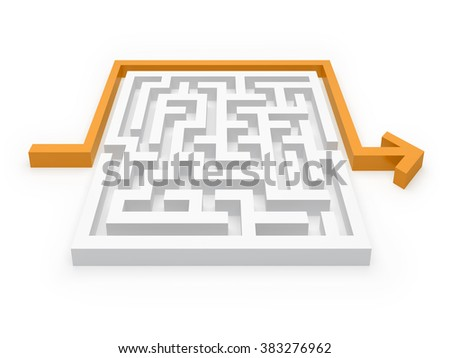 Maze Puzzle clever Solution - stock photo