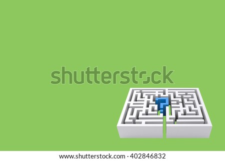 Maze question mark against green background - stock photo