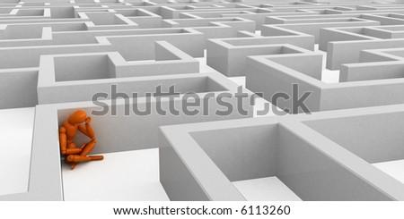 Maze with orange mannequin - stock photo