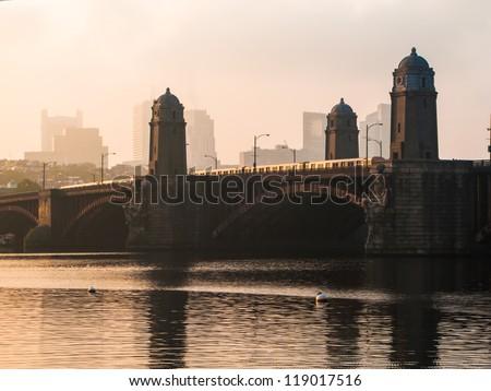 MBTA Red Line crossing Boston's Longfellow Bridge - stock photo