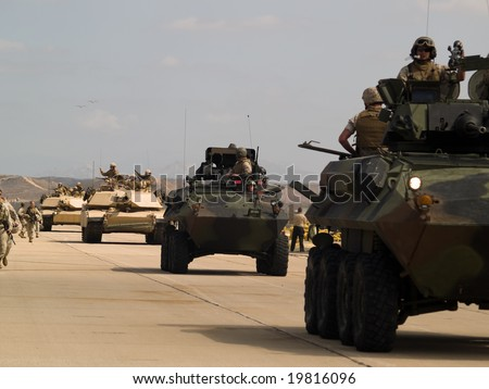 MCAS Miramar, CA - OCTOBER 5: Demonstration of US army marine corps October 5, 2008 on MCAS Miramar, CA. - stock photo