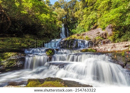 Mclean Falls, Catlins, South Island, New Zealand - stock photo