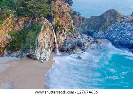 McWay Falls, Big Sur, California - stock photo