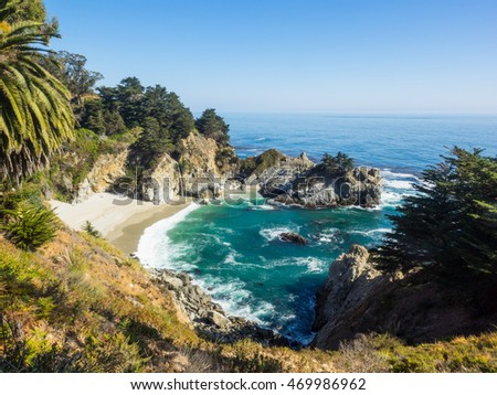 McWay Falls is an 80-foot waterfall located in Julia Pfeiffer Burns State Park that flows year-round.