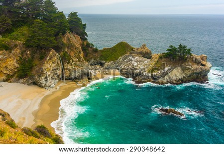 McWay falls, Pacific coast, near Big Sur, California. - stock photo