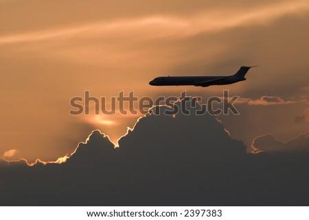 MD80 Sunset - stock photo