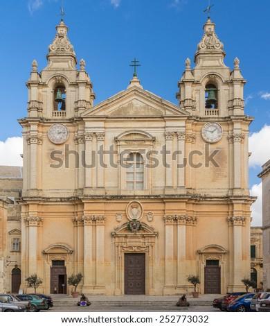 Mdina Cathedral in Malta - stock photo