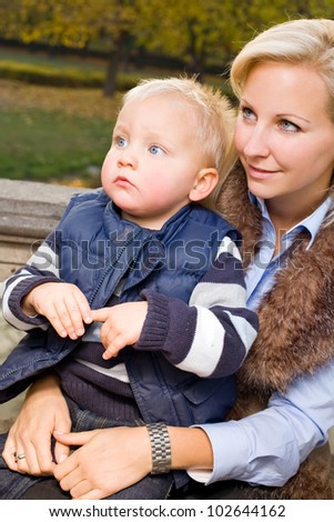 Me and my mom, attractive young mother with cute son. - stock photo
