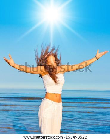 Me the Goddess On a Beach  - stock photo