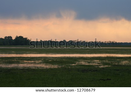 Meadow and pools of water with sunset sky