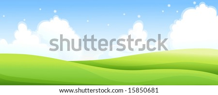 meadow and the blue sky - stock photo