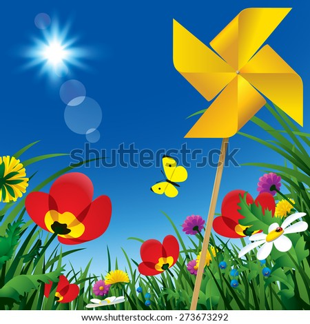 Meadow flowers and windmill propeller under the summer blue sky. Season natural background - stock photo