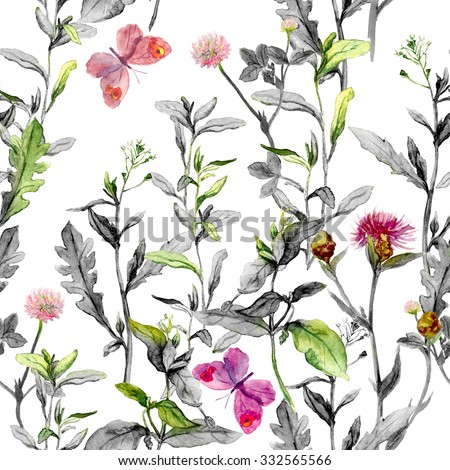 Meadow flowers, grass, herbs. Seamless herbal background in black and white colors for fashion design. Watercolor - stock photo