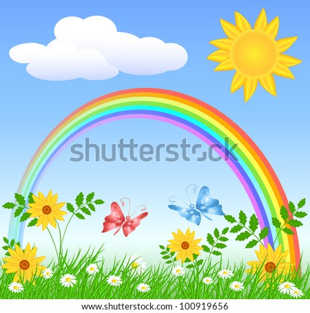 Meadow flowers, rainbow, sun and blue sky. Raster version of vector.
