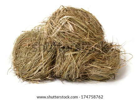 meadow hay stack isolated on white background  - stock photo