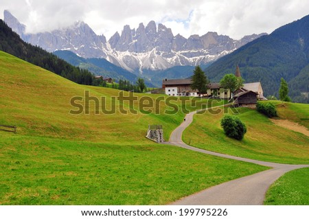 Meadow in Dolomites, Italy - stock photo