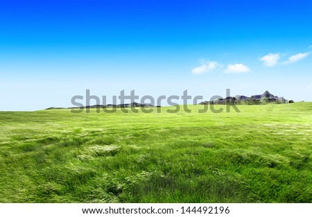 Meadow landscape.Green grass and mountains - stock photo