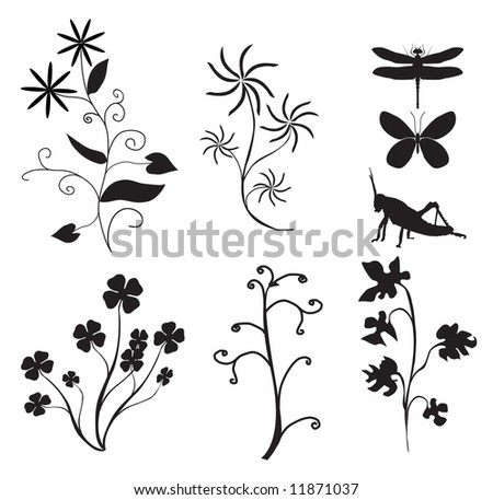 Meadow life - silhouette illustration - stock photo
