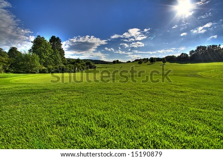 meadow scenery at a golf field - stock photo