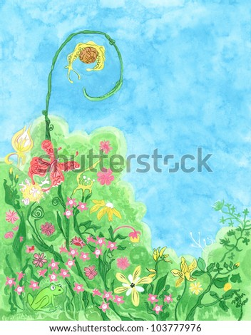 Meadow with small animals - watercolor painting - stock photo
