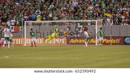 Meadowlands, NJ USA - June 1, 2017: Jesus Corona (17) of Mexico not pictures scores goal during friendly game against Republic of Ireland at MetLife arena in Meadowlands, Mexico won 3 - 1