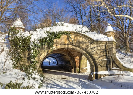 Meadowport Arch stone double arch and tunnel the morning after the blizzard of 2016 in Prospect Park, Brooklyn, New York. - stock photo