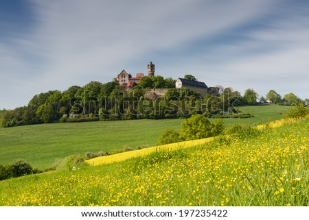 Meadows in spring in front of castle Ronneburg, Wetterau, Germany